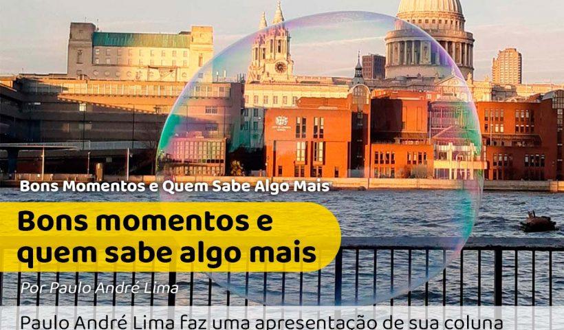 Foto tirada por Paulo André Lima mostrando um momento em que uma bolha de sabão flutua em frente a um prédio histórico de Portugal