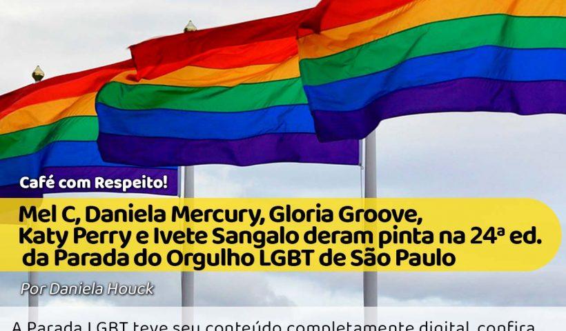 Bandeira LGBT hasteada com um fundo de céu azul. #pracegover