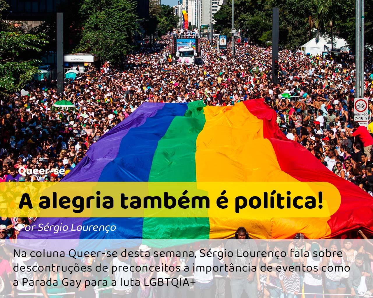 Foto da Avenida Paulista durante a Parada Gay de São Paulo #pracegover