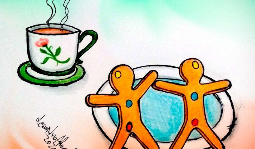 Ilustração com uma xícara de chá e dois biscoito em formato de pessoas com bolinhas amarela na cabeça, azul no coração e rosa na parte íntima, brincando com gênero. #pracegover