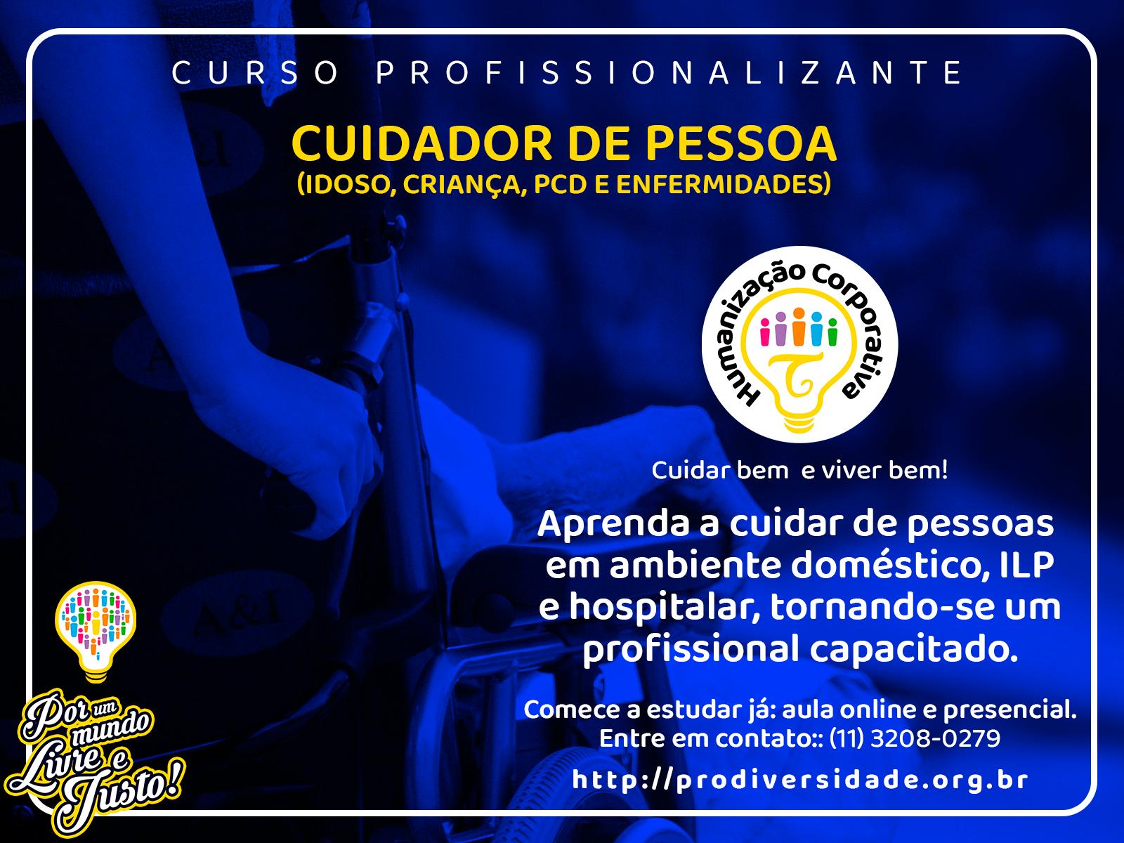 Imagem azul mostrando uma pessoa cadeirante sendo cuidada, anúncio publicitário do curso de cuidador de pessoa. #pracegover