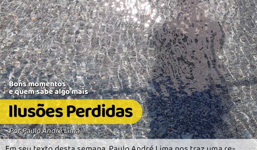 A foto mostra a sombra de Paulo André Lima em um lago de águas cristalinas e em movimento assim como nossas ilusões. #pracegover