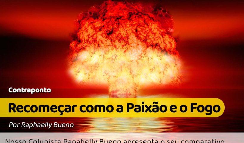 imagem do cogumelo de fumaça e fogo causado pela explosão de uma bomba atômico no meio do mar, tudo em tons avermelhados #pracegover