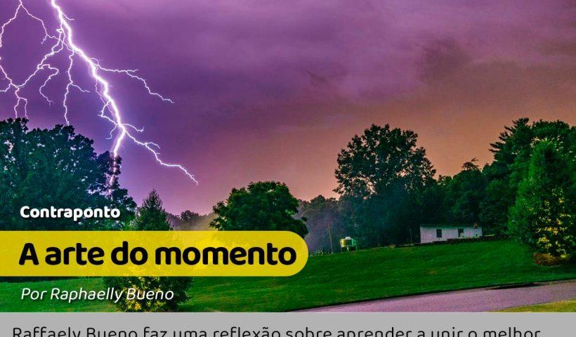 O momento de um raio caindo do céu e o tempo livre do outro lado casa.